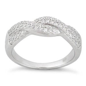Sterling Silver Entwined CZ Ring