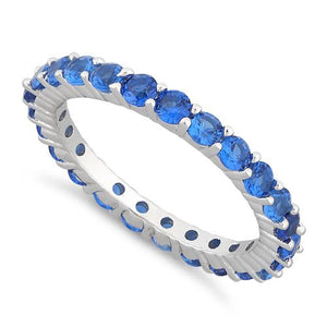 Sterling Silver Eternity Blue Sapphire CZ Ring