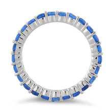 Load image into Gallery viewer, Sterling Silver Eternity Blue Sapphire CZ Ring