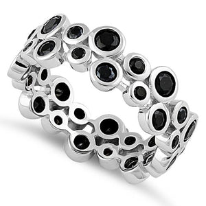 Sterling Silver Eternity Bubbles Black CZ Ring