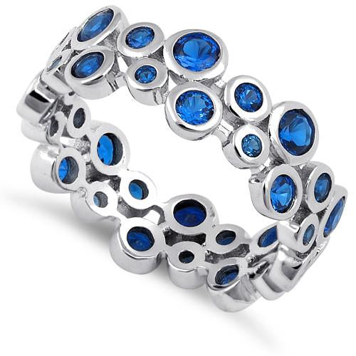 Sterling Silver Eternity Bubbles Blue Spinel CZ Ring
