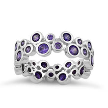 Load image into Gallery viewer, Sterling Silver Eternity Bubbles Dark Violet CZ Ring
