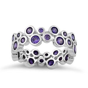 Sterling Silver Eternity Bubbles Dark Violet CZ Ring