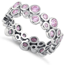 Load image into Gallery viewer, Sterling Silver Eternity Bubbles Pink CZ Ring