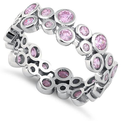 Sterling Silver Eternity Bubbles Pink CZ Ring