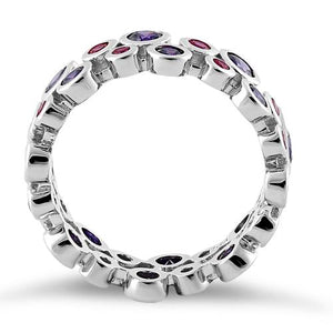 Sterling Silver Eternity Bubbles Violet Ruby CZ Ring