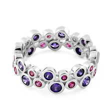 Load image into Gallery viewer, Sterling Silver Eternity Bubbles Violet Ruby CZ Ring