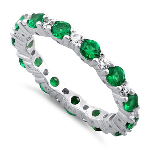 Sterling Silver Eternity Emerald CZ Ring