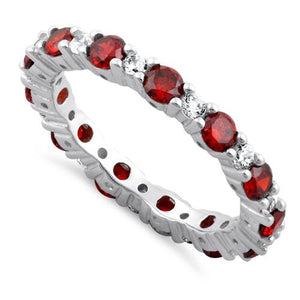 Sterling Silver Eternity Garnet CZ Ring