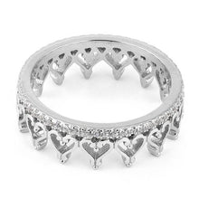 Load image into Gallery viewer, Sterling Silver Eternity Heart CZ Ring