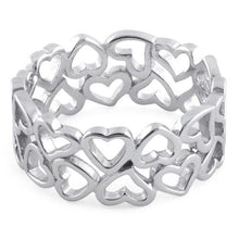 Load image into Gallery viewer, Sterling Silver Eternity Hearts Ring