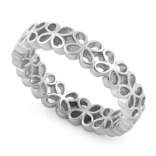 Sterling Silver Eternity Hollow Flower Ring