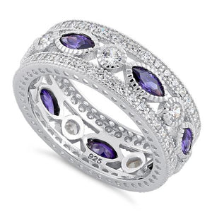 Sterling Silver Eternity Marquise & Round Amethyst CZ Ring