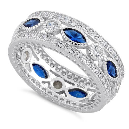 Sterling Silver Eternity Marquise & Round Blue Spinel CZ Ring