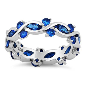 Sterling Silver Eternity Marquise Round Blue Spinel CZ Ring