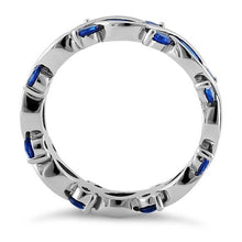 Load image into Gallery viewer, Sterling Silver Eternity Marquise Round Blue Spinel CZ Ring