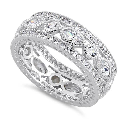 Sterling Silver Eternity Marquise & Round Clear CZ Ring