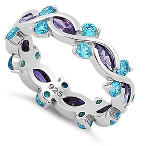 Sterling Silver Eternity Marquise Round Dark Violet & Aqua CZ Ring