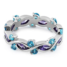 Load image into Gallery viewer, Sterling Silver Eternity Marquise Round Dark Violet & Aqua CZ Ring