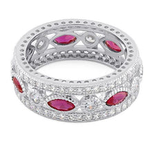 Load image into Gallery viewer, Sterling Silver Eternity Marquise & Round Ruby CZ Ring