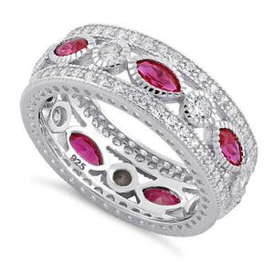 Sterling Silver Eternity Marquise & Round Ruby CZ Ring