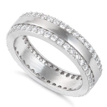 Load image into Gallery viewer, Sterling Silver Eternity CZ Ring