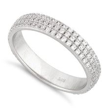 Load image into Gallery viewer, Sterling Silver Eternity Pave CZ Ring