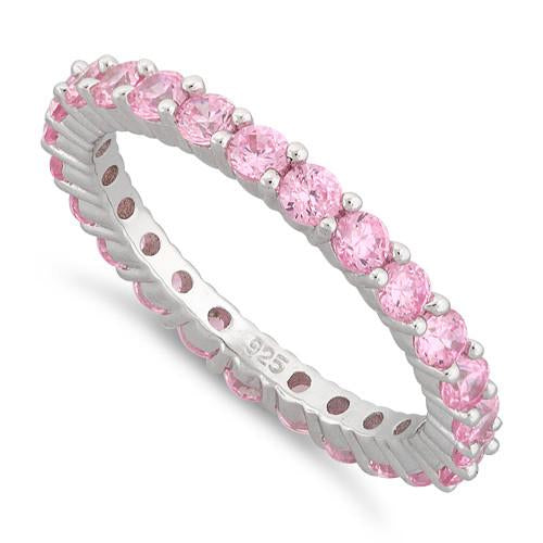 Sterling Silver Eternity Pink CZ Ring