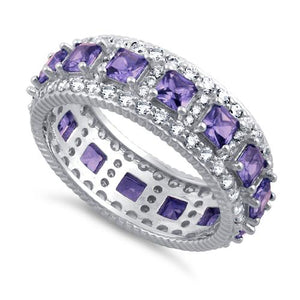 Sterling Silver Eternity Princess Cut Amethyst CZ Ring