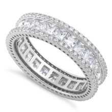 Load image into Gallery viewer, Sterling Silver Eternity Princess Cut CZ Ring