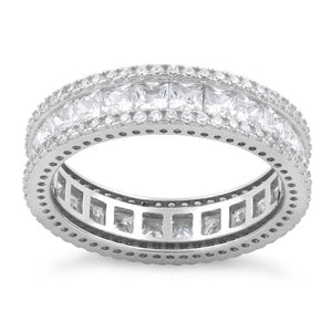 Sterling Silver Eternity Princess Cut CZ Ring