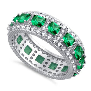 Sterling Silver Eternity Princess Cut Emerald CZ Ring