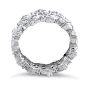 Sterling Silver Eternity Round and Marquise Clear CZ Ring