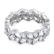 Load image into Gallery viewer, Sterling Silver Eternity Round and Marquise Clear CZ Ring