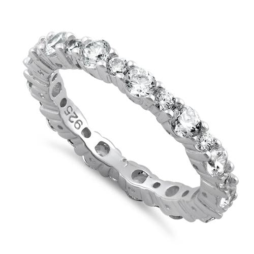 Sterling Silver Eternity Round Clear CZ Ring