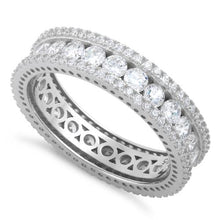 Load image into Gallery viewer, Sterling Silver Eternity Round CZ Ring