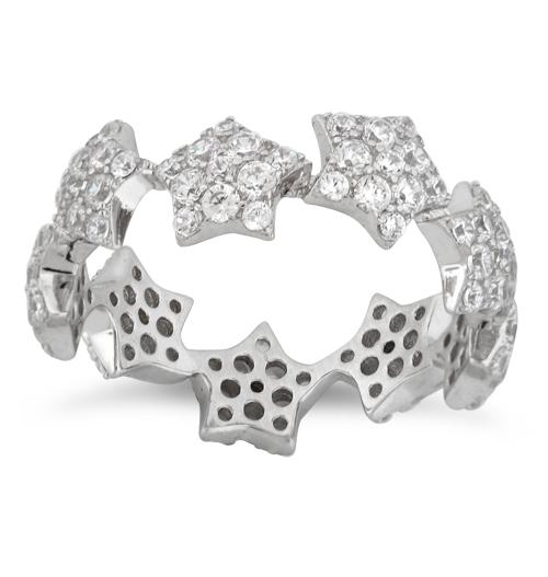 Sterling Silver Eternity Stars Pave CZ Ring
