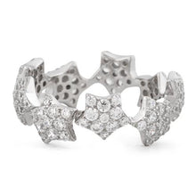 Load image into Gallery viewer, Sterling Silver Eternity Stars Pave CZ Ring