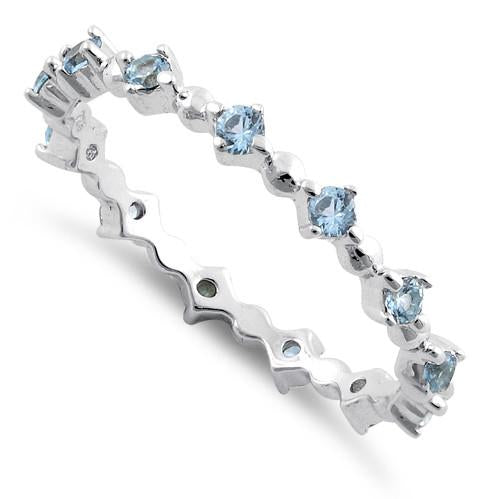 Sterling Silver Eternity Thin Aquamarine CZ Ring