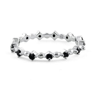 Sterling Silver Eternity Thin Black Spinel CZ Ring