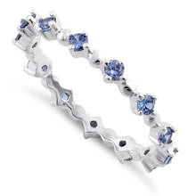 Load image into Gallery viewer, Sterling Silver Eternity Thin Tanzanite CZ Ring