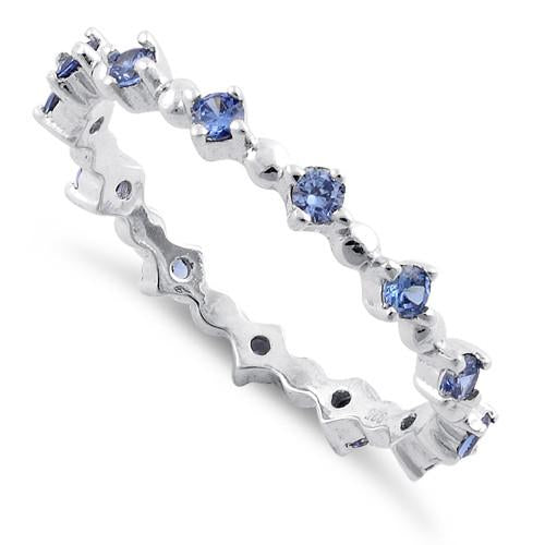 Sterling Silver Eternity Thin Tanzanite CZ Ring