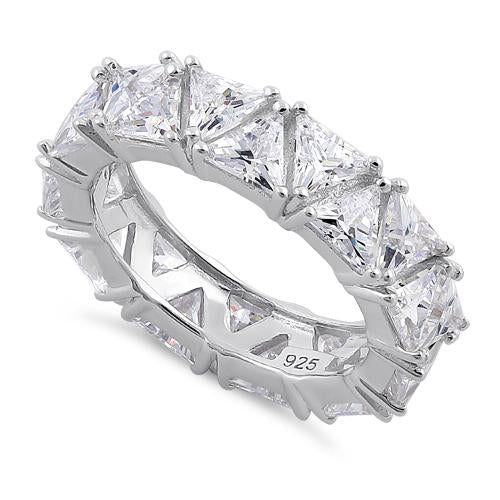 Sterling Silver Eternity Triangle Clear CZ Ring