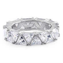 Load image into Gallery viewer, Sterling Silver Eternity Triangle Clear CZ Ring