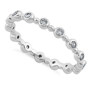 Sterling Silver Ethereal Round Cut Clear CZ Eternity Ring