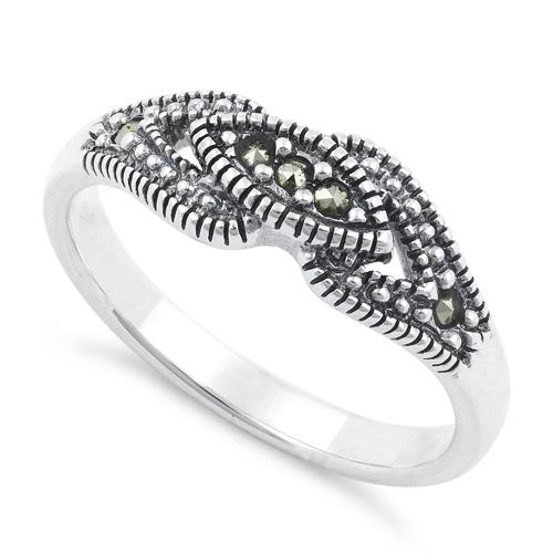 Sterling Silver Evil Eye Marcasite Ring