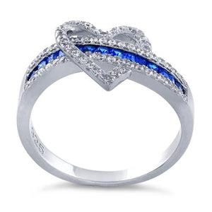 Sterling Silver Exotic Heart Blue Sapphire CZ Ring