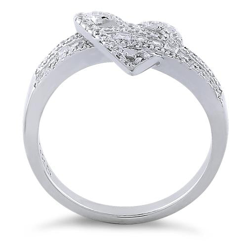 Sterling Silver Exotic Heart Clear CZ Ring
