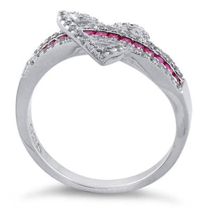 Sterling Silver Exotic Heart Ruby CZ Ring