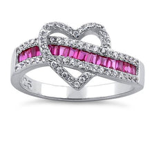Load image into Gallery viewer, Sterling Silver Exotic Heart Ruby CZ Ring